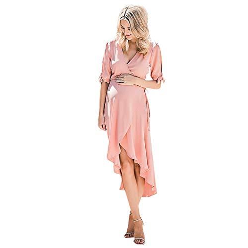 Forthery Womens Solid Short Sleeves Irregular Hem Pregnanty Maternity Dress V Neck Dresses for Photography(Pink,M=US 6) -