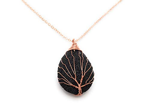 Vintage Tree of Life Wire Wrapped Copper Oblong Lava Rock Stone Pendant Necklace 18