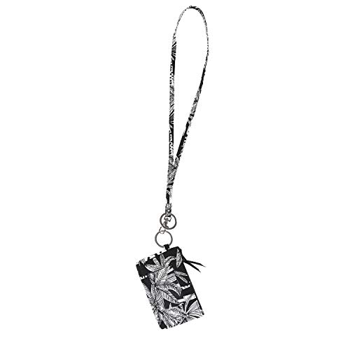Lam Gallery Fashion Lanyard Wallet for Womens Zip ID Card Case with Wallet Badge Holder Lanyards for Office School (Black Background Leaf) (Lanyard Wallet)