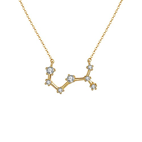 OSIANA Scorpio Constellation Necklace 14K Gold Plated Pendant Dainty Horoscope Sign Zodiac Model Choker Personalized Birthday Gift for Women