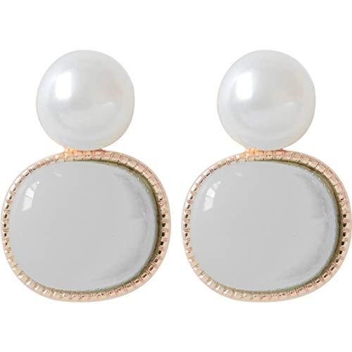 CHUNKUNA Women's Court Chinese Style Green Agate Earrings Women'S Glamour Jewelry (white)