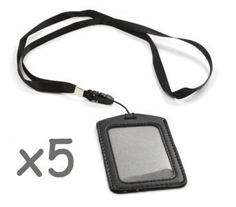 Cosmos ® Black 5 Set of Faux Leather Business ID Badge Card Holder with Long Neck Strap Band Lanyard (36 inch full round length) With Cosmos Fastening Strap