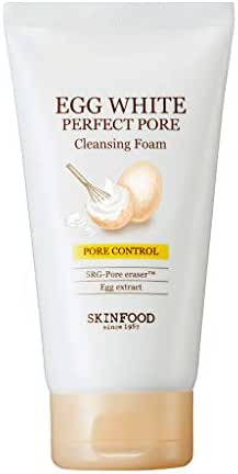 SKIN FOOD Egg White Perfect Pore Cleansing Foam 5.07 oz. (150ml) - Egg Yolk, Albumin Contained Pore Refining Facial Foam Cleanser, Removes Impurities from Pores, Skin Smooth and Soft