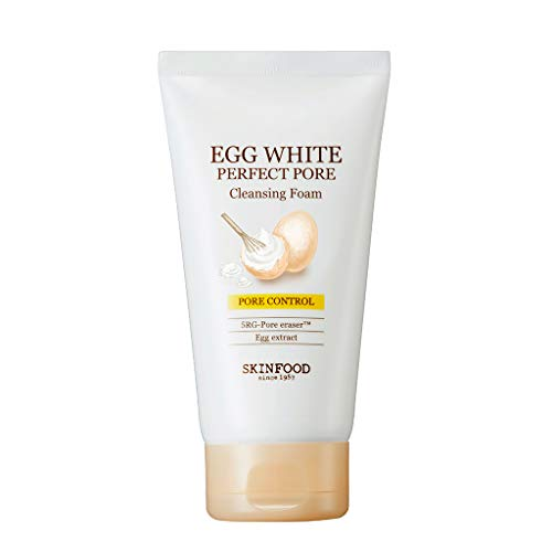 SKIN FOOD Egg White Perfect Pore Cleansing Foam 5.07 oz. (150ml) - Egg Yolk, Albumin Contained Pore Refining Facial Foam Cleanser, Removes Impurities from Pores, Skin Smooth and Soft (20 -
