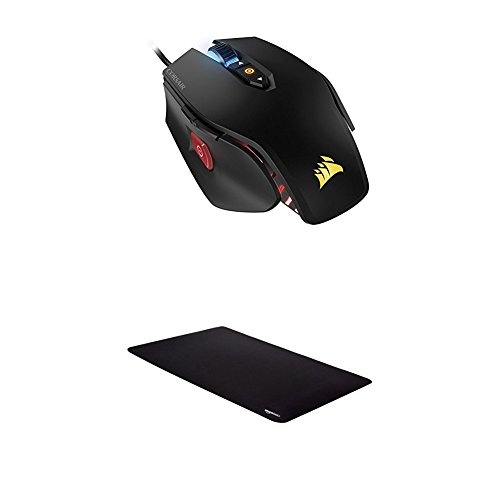 Corsair Gaming M65 PRO RGB FPS Gaming Mouse and AmazonBasics Extended Gaming Mouse Pad, Black by Corsair