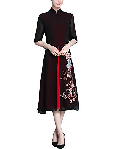 - HÖTER Women's Qipao High Split Slim Dress Printed Long Sleeve Vintage Chinese Silk Cheongsam(S-3XL)