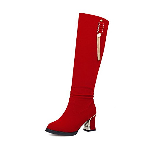 weipoot-womens-imitated-suede-pull-on-solid-kitten-heels-round-closed-toe-boots-red-charms-36