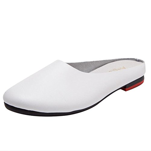 MatchLife Damen Mokassins Leder Flache Schuhe Freizeit Halbschuhe Slippers Pantoletten EU 34-42  36 EU|Style1-wei?