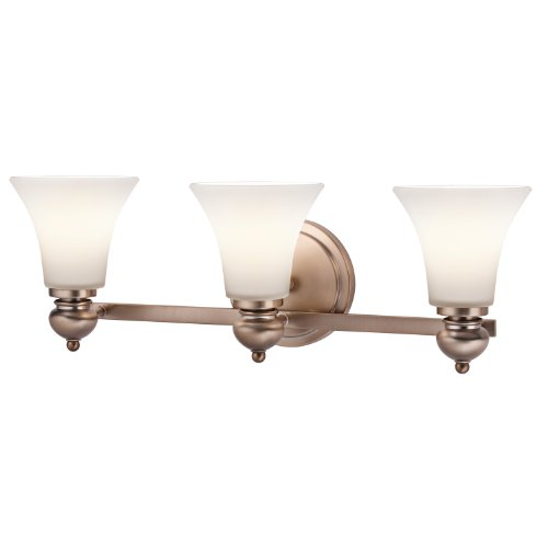 Kichler 45048CLZ Sheila 3-Light Vanity Fixture, Classic Bronze Finish with Sat-Inch Opal Etched White Glass