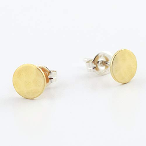 e Stud Earrings - Brass Circle with Sterling Silver Post ()