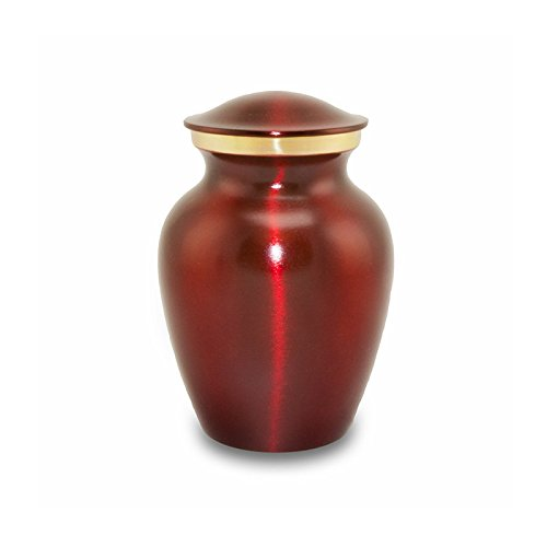 OneWorld Memorials Classic Brass Pet Urn - Extra Small - Holds Up To 25 Cubic Inches of Ashes - Red - Custom Engraving Included