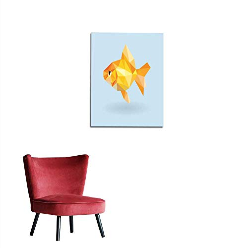 Wall Sticker Decals Goldfish Low Polygon on Blue Background Mural ()