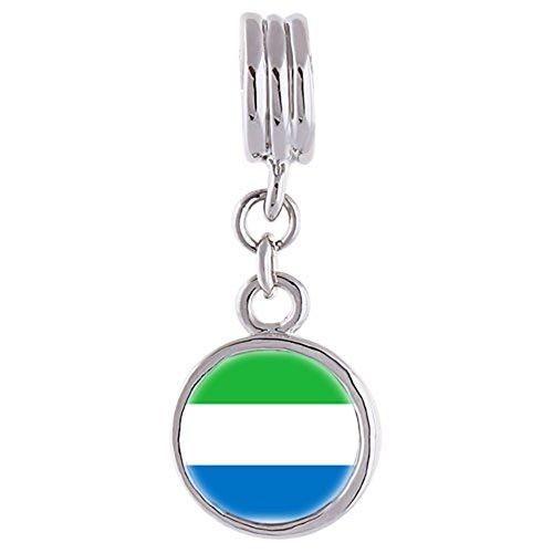 Soufeel bead ronde charm femme en pendentif du drapeau de Sierra Leone