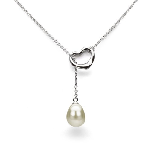 - La Regis Jewelry Freshwater Cultured White Pearl Necklace Pendant Sterling Silver Heart Charm Wedding Gift 9x11mm 21 inch