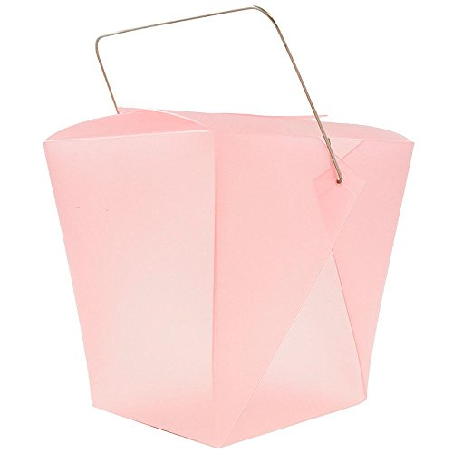 """JAM Paper® Plastic Chinese Takeout Container - Large - 4"""" x 3 1/2"""" x 4"""" - Pink - sold individually"""