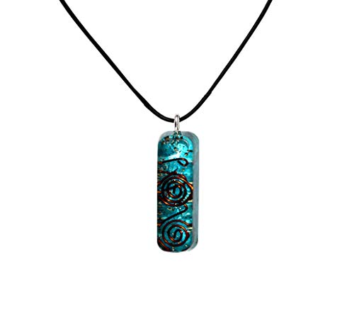- Pura Esprit Orgone Pendant - Emf Protection Orgone Energy Generator Healing Chakra Aquamarine Natural Crystal Orgonite Pendant Necklace for Chakra Balance Anxiety Relief Meditation- Yoga Necklaces