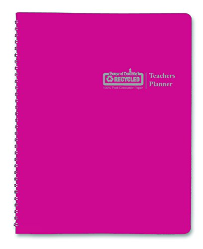 House of Doolittle Teachers Planner, Pink Leatherette Cover, 45 Weeks, 7 Periods, Seating Chart, Records, 8.5 x 11 Inch (HOD50905)