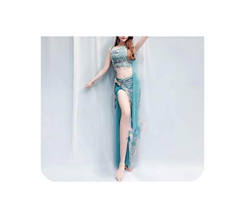 (Clothes Shoulder Fairy Clothing Costume 4 Style Belly Dance Set,Green Ribbon)