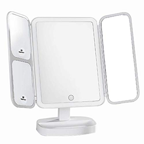 GYM Makeup Mirror Smart LED Fill Light Makeup Mirror Desktop Makeup Mirror, Desktop with Light Dressing, Beauty Charging Makeup Mirror Family Essential (Color : White)