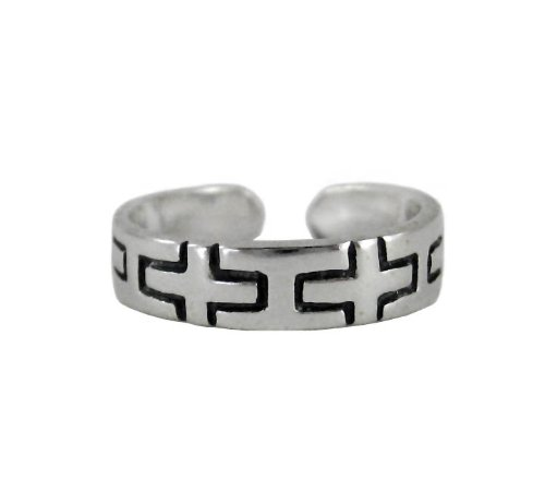 Sterling Silver Modern Geometric Cross Band Adjustable Toe Ring T113