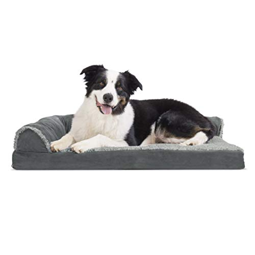 Deluxe Chaise - FurHaven Pet Dog Bed | Deluxe Memory Foam Faux Fur & Suede L-Shaped Chaise Lounge Sofa-Style Pet Bed for Dogs & Cats, Stone Gray, Large (Renewed)
