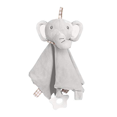 Baby Security Blankets,Lovely Plush Stuffed Elephant Soothing Toy with Silicone Teether and Built-in Bell,11