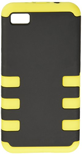 Eagle Cell PABB10D6YEBK Hybrid TUFF eNUFF BlackBerry Z10 - Carrying Case - Retail Packaging - Yellow/Black (Yellow Blackberry Faceplates)