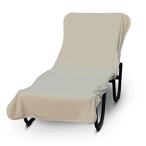 Luxury Hotel & Spa Towel Pool Chaise Lounge Cover 100% Cotton, Soft Ring-Spun Cotton,Standard Size (Plain, Beige)