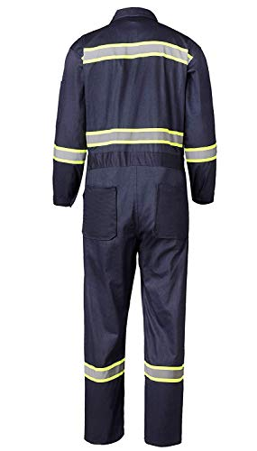 Men's High Visibility Work Coverall Reflective Safety Workwear Long Sleeve (XL, Navy) by XinAndy (Image #1)