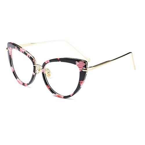 c067e9c478 Fulision Gafas de mujer estilo moderno Marco de ojo de gato Gafas retro  lente clara 56mm