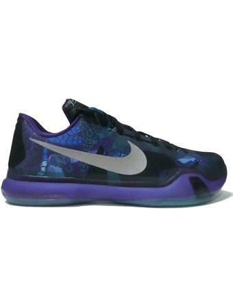 Nike Mens Kobe X Basketball Shoe 12 D(M) US Emerald Glow / Reflect Silver - Court Purple