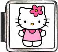 Pink Hello Kitty Italian Charm Bracelet Jewelry Link A10382 (Bracelet Italian Kids Link Charms)