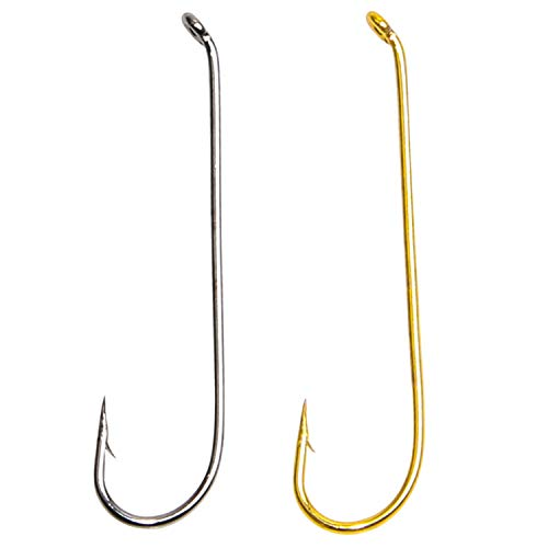 Classical Fly Fishing Hook Long Shank Hooks 100pcs 10# Barb Fly Tying Hook Wide Gap Long Point Sharpened Fishing Hook Flies Freshwater ()