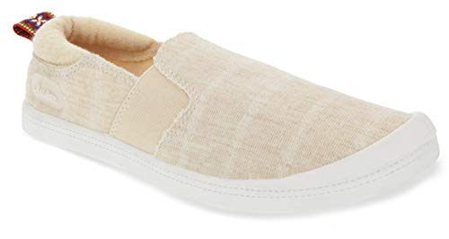 Sugar Women's Grandslam Comfortable Slip On Sneaker Shoe with Espadrille and Cute Design 8.5 Natural Stripe