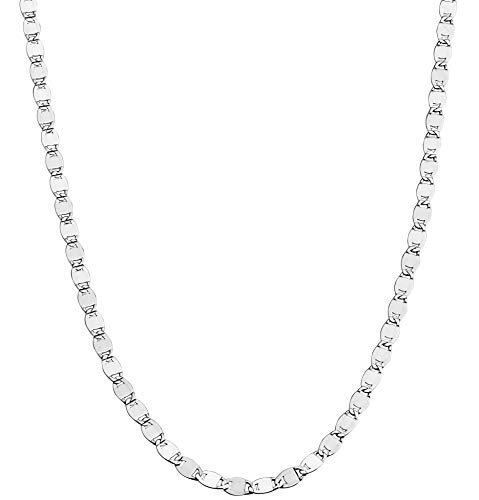 MiaBella 925 Sterling Silver Italian Glam Sparkle Link Chain Necklace for Women Teen Girls, 13