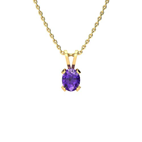 1/2 Carat Oval Shape Amethyst Necklace In Yellow Gold Over Sterling Silver, 18 - Amethyst Gold Pendant Round