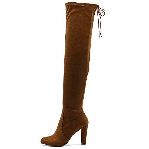 Ollio Women Shoe Drawstring Stretch Faux Suede Zip Up Over The Knee Long Boots MGB18 (8 B(M) US, - Brown Suede Knee Boots
