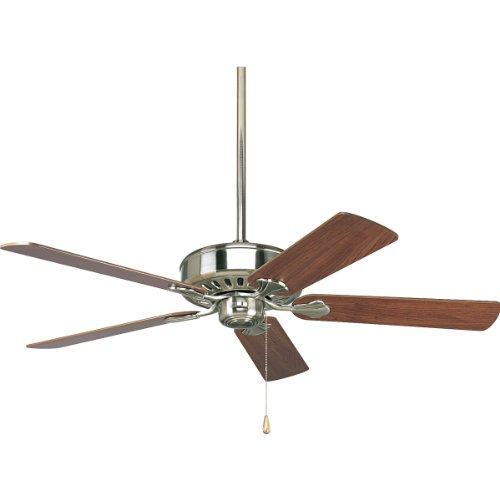 Progress Lighting P2503-09 52-Inch Performance 5 Blade Fan with 3-Speed Reversible Motor, Brushed Nickel