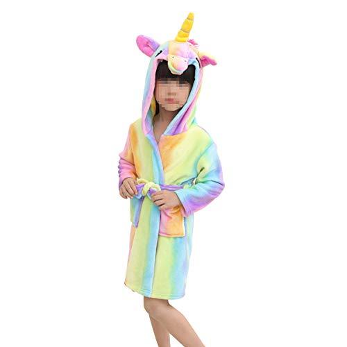 LUOEM Albornoz Flannel Rainbow Horse Albornoz Cartoon Pijamas Animal encapuchado para niños niñas