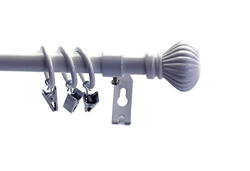 Urbanest Fluted Ball Adjustable Single Drapery Curtain Rod Set with 16 Rings, 5/8