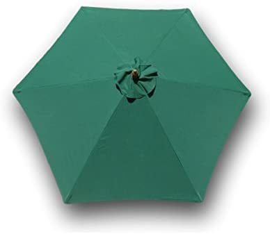Formosa Covers 9ft Umbrella Replacement Canopy 6 Ribs in Hunter Green Canopy Only