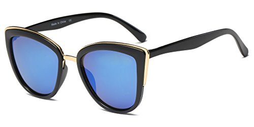 Cramilo Women's Vintage Oversized Cat Eye Sunglasses Black - Sunglasses Cat New Eye Metal Look