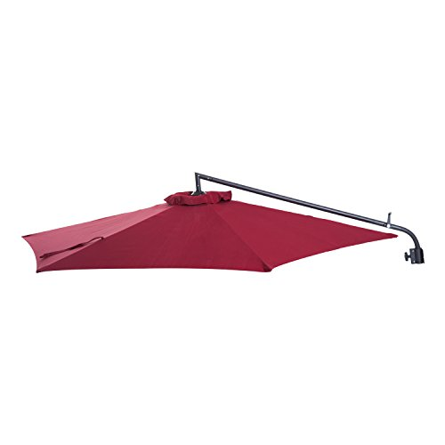 Cheap  Outsunny 8.75' Aluminum Wall Mounted Outdoor Patio Umbrella with Tilt And Crank..