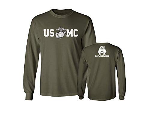 - Lucky Ride Marine Corps Bull Dog Front & Back USMC Men's T-Shirt Longsleeve, Miltarygreen,M