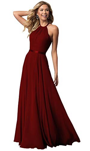 Halter Chiffon Bridesmaid Dresses Long for Women Open Back Formal Evening Gown (Burgundy,14)