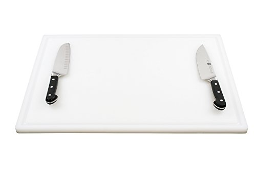 Commercial Plastic Carving Board with Groove, NSF Certified, HDPE Poly (24 x 18 x 0.75 Inch, White) by Thirteen Chefs (Image #3)'