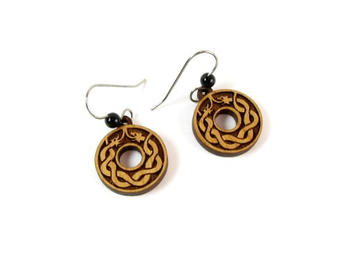 - Ouroburos Circle Laser Cut Alder Wood Earrings with Bead Accents