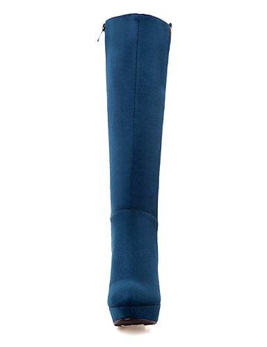Eu36 Azul Uk8 Mujer Vellón 5 Dark us5 5 Punta U Marino Botas Blue us10 A La Cn43 Eu42 Negro Casual 5 Redonda Moda De Xzz Zapatos Tacón Robusto Vestido Cn35 5 Uk3 Black OxCqOZB