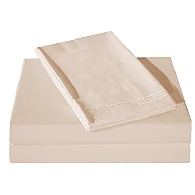 Honeymoon 1800 Brushed Microfiber Embroidered Bed Sheet Set, Ultra Soft, Twin - Ivory