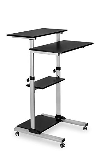 Mount-It! Mobile Standing Desk/Height Adjustable Stand Up Computer Work Station | Rolling Presentation Cart with 27.5 Inch Wide Platform, Locking Wheels